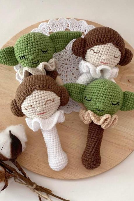 Set of 2 Star wars baby alien rattle and teether Princess leia gift Baby jedi Expecting mom gift Star wars shower Organic baby toy New mom