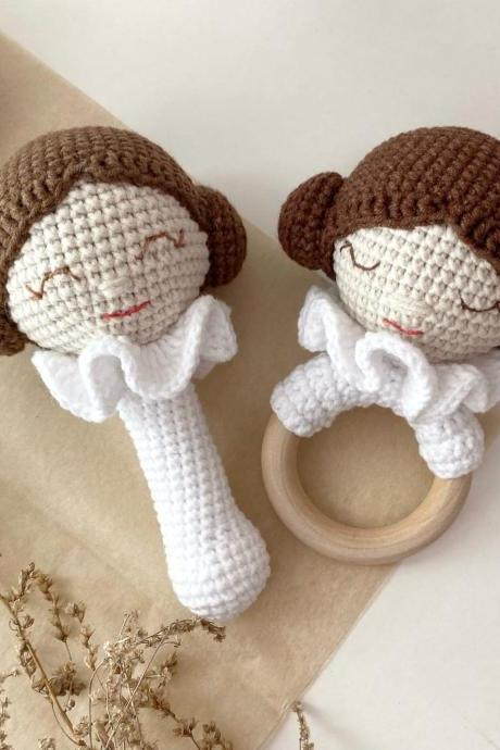 Princess Leia rattle toy Mandalorian jedi Star wars baby onesie Expecting mom gift Montessori toy New parents gift Star wars baby girl