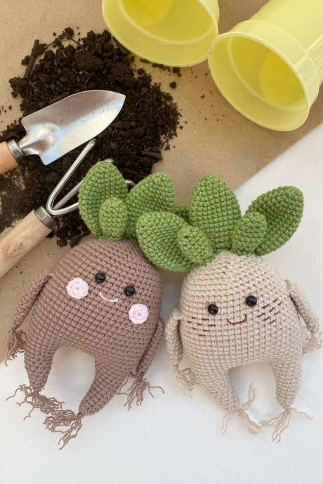 PATTERN Crochet baby mandrake root Kawaii crochet toy pattern Amigurumi plant mandrake Halloween witchcraft decor and herb Crochet amulet