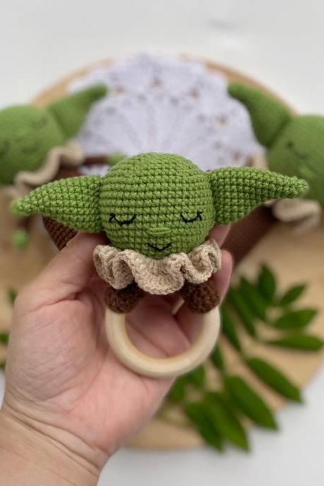 PATTERN Crochet baby alien teething Star wars green baby alien Amigurumi star wars Star wars decor nursery Mandalorian New baby crochet gift