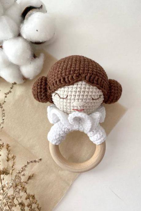 Princess Leia teether toy Mandalorian jedi Star wars baby onesie Expecting mom gift Montessori toy New mom gift basket Star wars baby girl