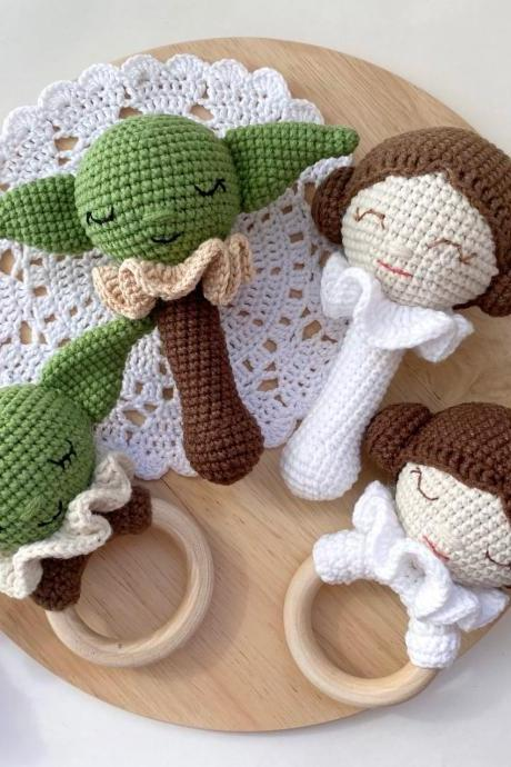 SET OF 4 Princess Leia rattle and teething Baby green alien rattle and teether Star wars baby nursery Expecting mom gift Best selling items